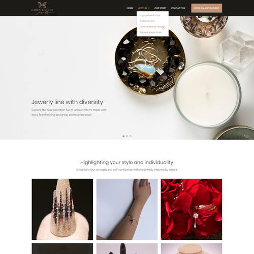 Jewelry website with the title 'Jewelry Landing Page'