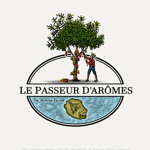 Cocoa design with the title 'Le Passeur d'Arômes'