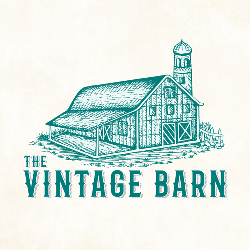Farmhouse logo with the title 'Need Vintage Logo for Shop that is called The Vintage Barn'