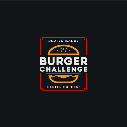 German logo with the title 'Burger Challenge Bold & Vibrant Logo'