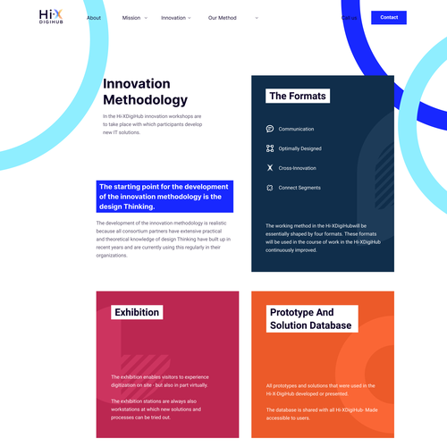Article design with the title 'Innovation page for digihub'
