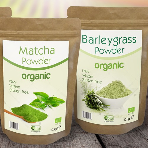 Gluten-free label with the title 'Clean and modern label for organic products: Macha, Barleygrass, Cranberry Powder'