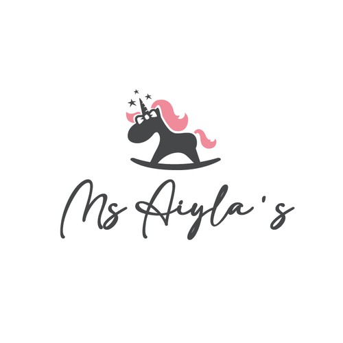 Unicorn logo with the title 'Modern but cute baby clothing store logo'