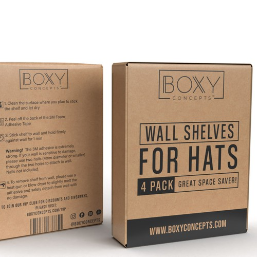 Cardboard packaging with the title 'wall shelves for hats box'