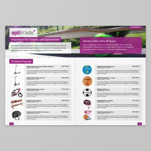 White and purple design with the title 'Brochure/Booklet Page Design for Optitrade'