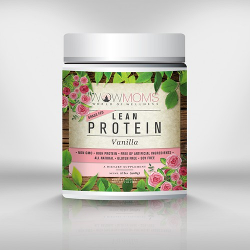 Dietary supplement label with the title 'WOWMOMS Lean Protein'
