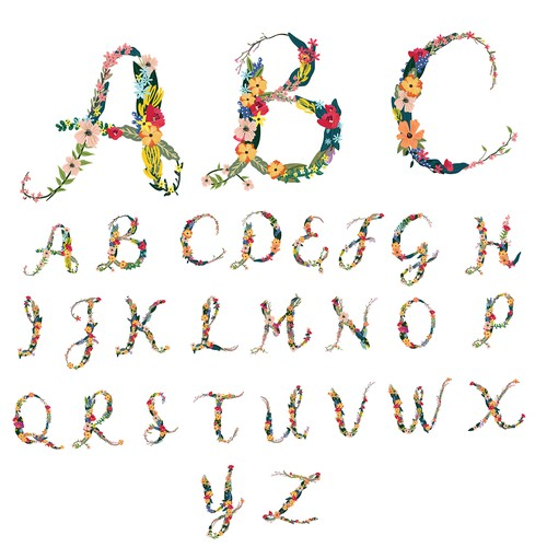 Letter artwork with the title 'floral letters'