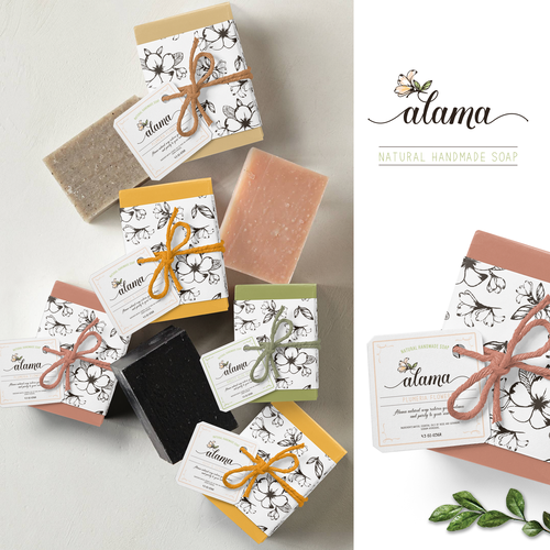 Handmade packaging with the title 'Flowers theme logo and packaging soap design'