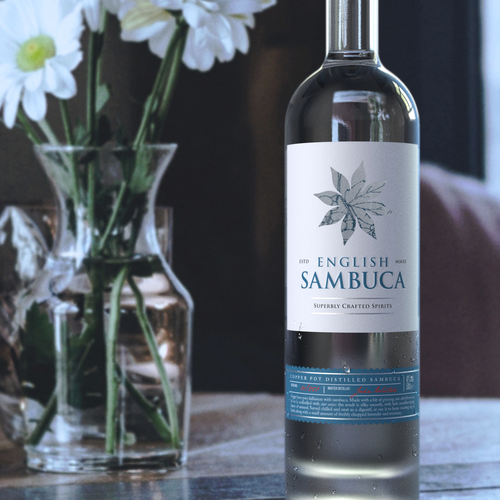 Spirits label with the title 'Design and 3D-visualization for Superbly Crafted Sambuca'
