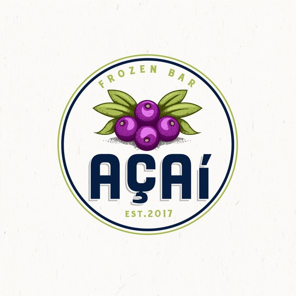 Blueberry logo with the title 'ACAI frozen bar'