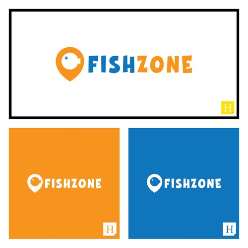 Place logo with the title 'FISH ZONE - logo for fishing accessories eshop'