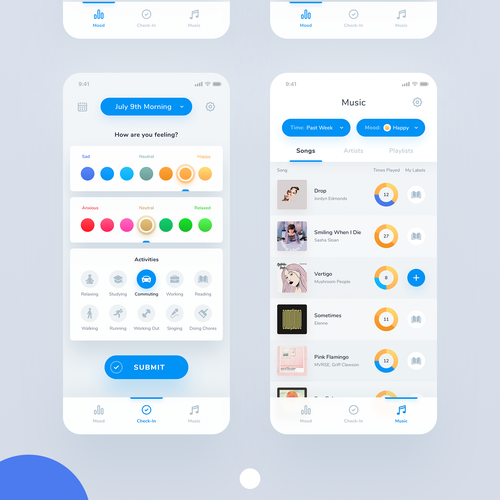 Statistics design with the title 'App design'