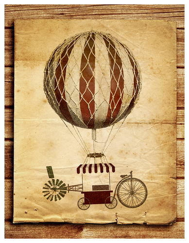 Bike artwork with the title 'Illustrate a Whimsical Flying MarketCart for a new restaurant'