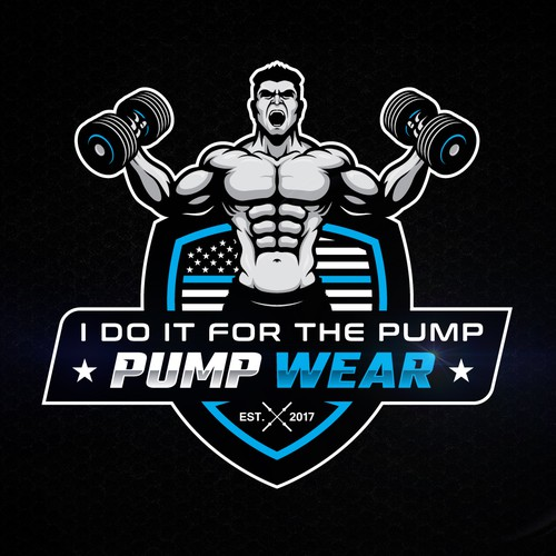 Dumbbell design with the title 'Gym Rate Pump Wear Logo Contest'