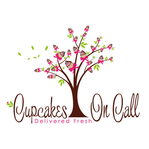 Cake logo with the title 'whimsical cute cupcake tree '