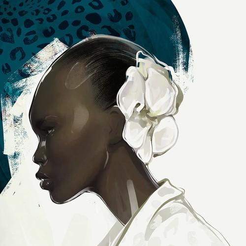 Fashion design artwork with the title 'Watercolour Portrait '