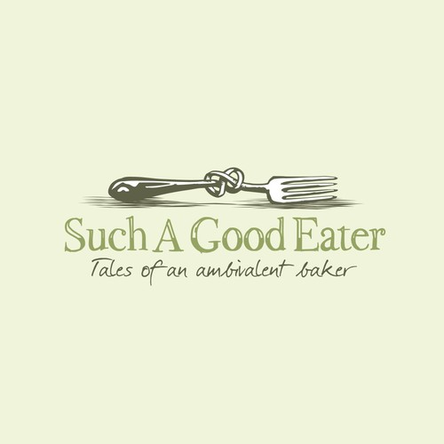 """Fork logo with the title 'Vintage style logo for a food blog """"Such A Good Eater""""'"""
