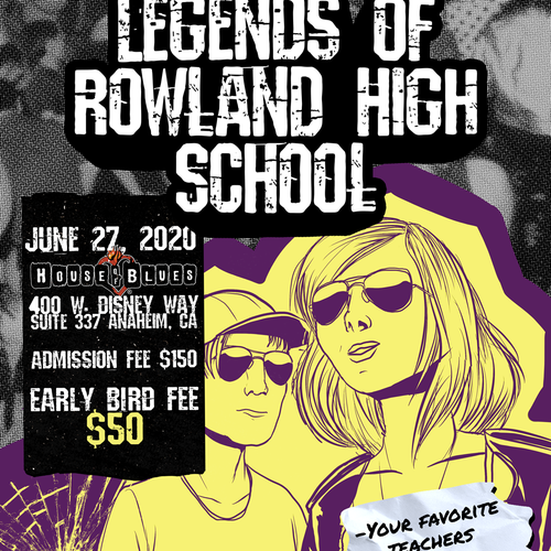 Grunge artwork with the title 'High school graduation party poster'