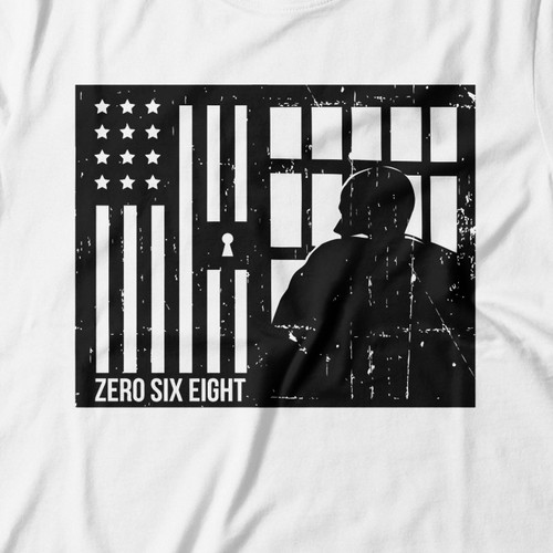 American flag t-shirt with the title 'zero'