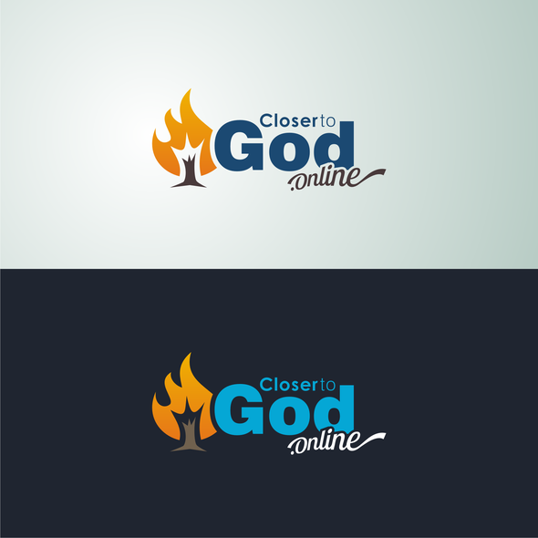 Burning logo with the title 'CLOSER TO GOD ONLINE - LOGO'
