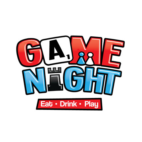 Board game logo with the title 'Game Night Bar Cafe'