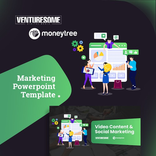Keynote design with the title 'PowerPoint Presentation Design - Marketing'