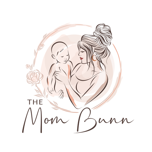 Logo with the title 'The Mom Bunn'
