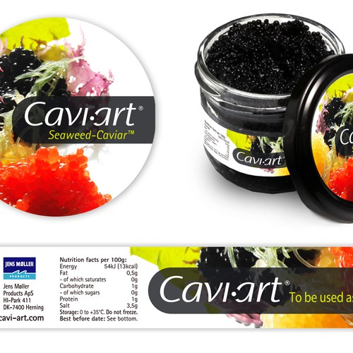 Caviar design with the title 'Cavi-art label'