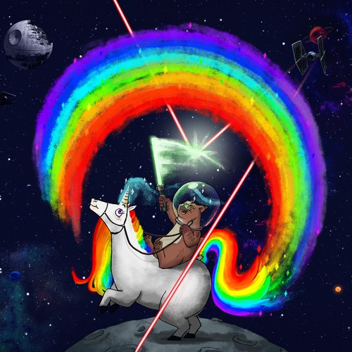 Rainbow illustration with the title 'Jedi cat and Unicorn'