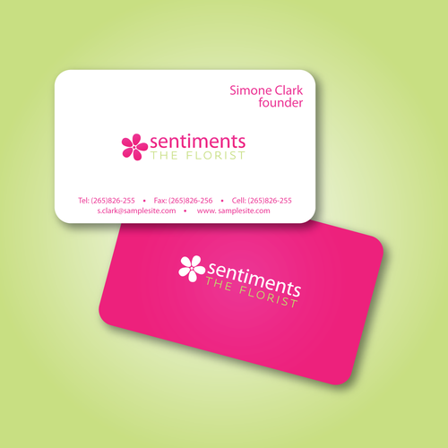 Florist logo with the title 'Sentiments'