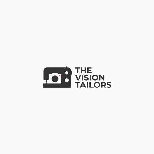 Sewing machine logo with the title 'modern logo for photography and filmmaking company'