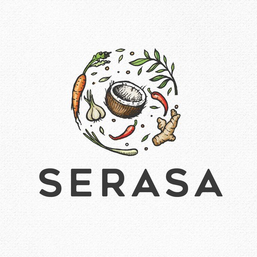 Vegetable logo with the title 'serasa'