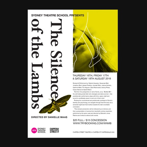 Avant garde design with the title 'THE SILENCE OF THE LAMBS SYDNEY THEATRE SCHOOL POSTER'