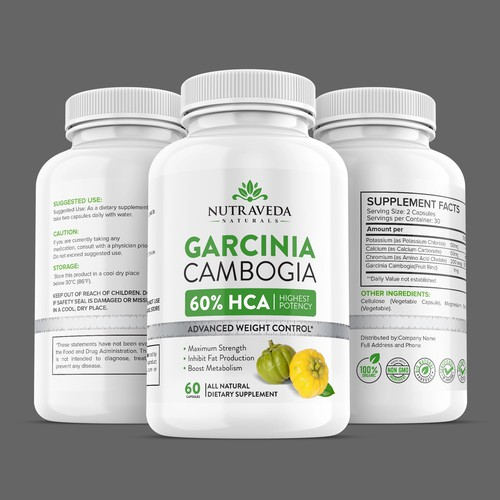 Dietary supplement label with the title 'Garcinia cambogia Weight Loss Supplement '