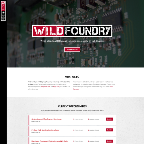 HTML5 design with the title 'WildFoundry'