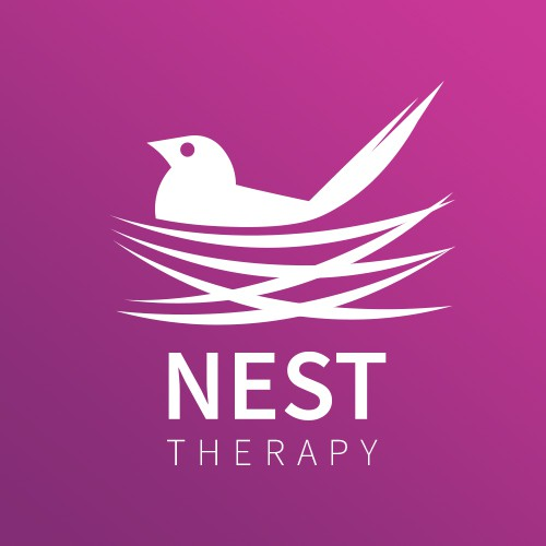 Black and purple logo with the title 'Logo Concept for Nest Therapy'