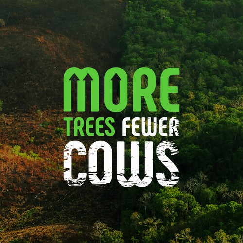Awareness design with the title 'More trees, fewer cows '