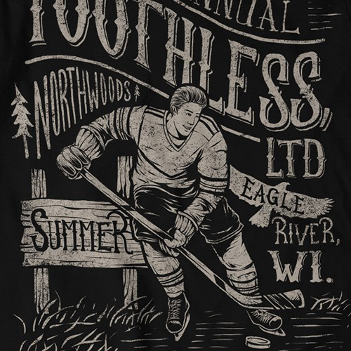 Summer t-shirt with the title 'vintage hockey'