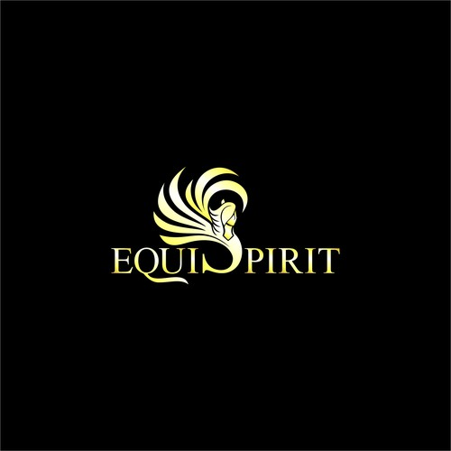 Pegasus logo with the title 'Angel and Horse for Equi Spirit'