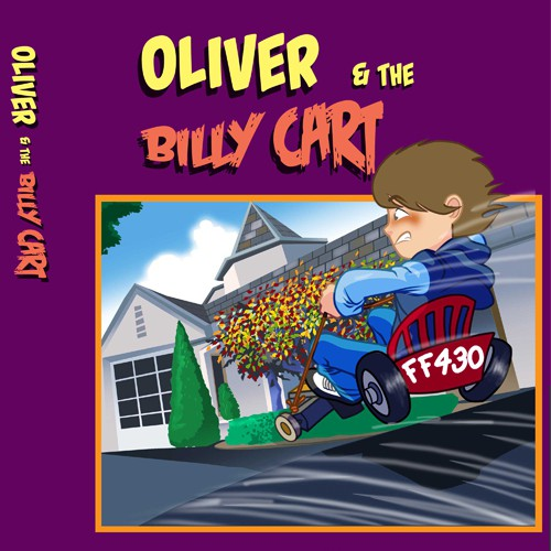 Cartoon book cover with the title 'Oliver and the Billy cart; by Lou Silluzio'