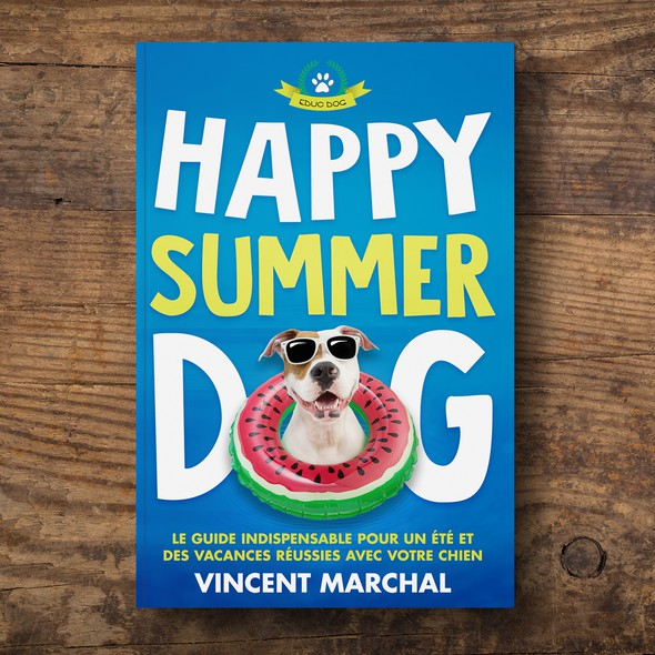 Beach book cover with the title 'Happy Summer Dog Book Cover'
