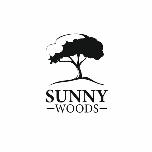 Black and white logo with the title 'Sunny Woods logo'