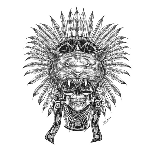 Manga design with the title 'mexican headdress'