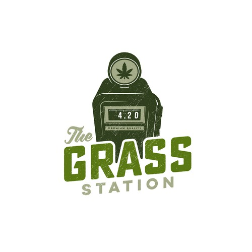 Weed logo with the title 'The Grass Station Logo'