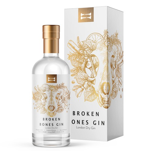 Beverage label with the title 'Label Design for Broken Bones Gin'