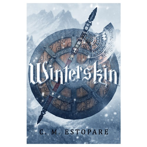 Viking book cover with the title 'Winterskin cover design'