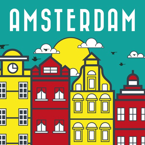 Amsterdam design with the title 'Concept for Travel Poster'