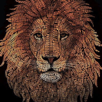 Typography Lion Illustration