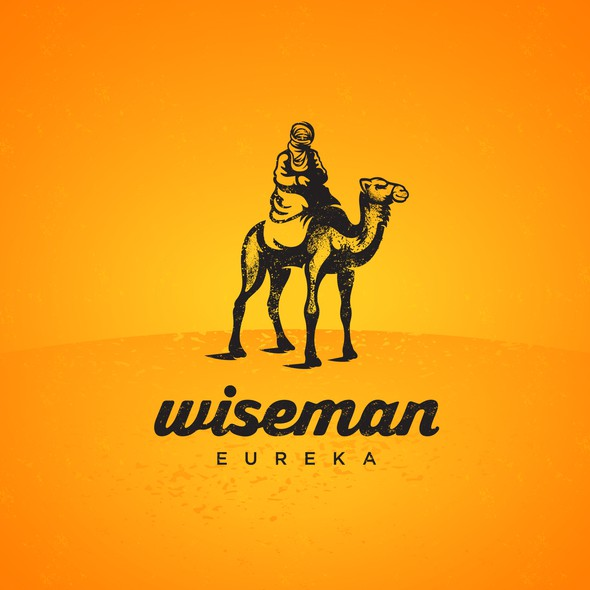 Camel design with the title 'Rustic logo for Wiseman'