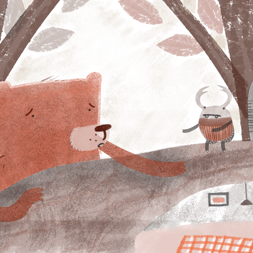 """Storybook illustration with the title 'Illustration for toddlers story book """"mouse-bear""""'"""